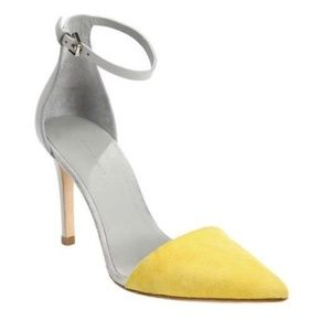 ALEXANDER WANG LINA YELLOW/GRAY ANKLE STRAP HEEL